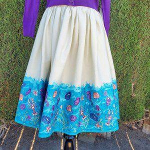 Collectif Jasmine Seashell Border Print Skirt NWT